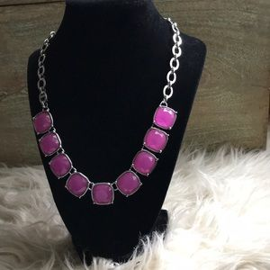 Lia Sophia Rhinestone Glass Necklace Pink